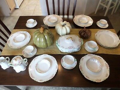Vintage Pink & Green Bavaria China Peerless Marlboro Covered Vegetable Plates