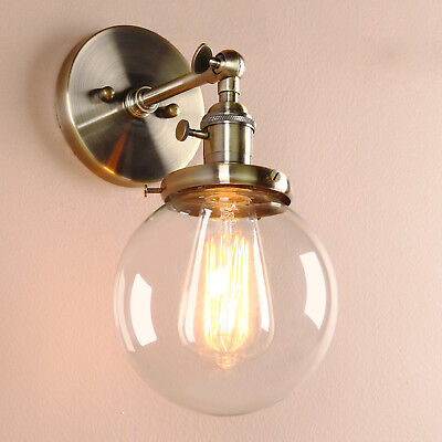 "5.9"" Vintage Industrial Wall Lamp Sconce Globe Plain Glass Shade Loft Wall Light"