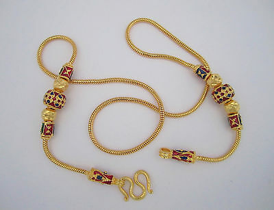 Hand crafted 22K Gold Plated necklace with Enameled Beads 18 inches Long