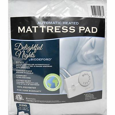 Heated Mattress Pad Warm Cozy Bedding Heater Cushion Cover King Size Bed White