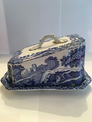 Spode Italian Cheese Dish C1930's, Blue and White , Good Condition