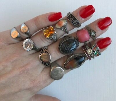 Lot of 15 Sterling Silver Vintage Rings - Agate, Art Deco, Blister Pearl