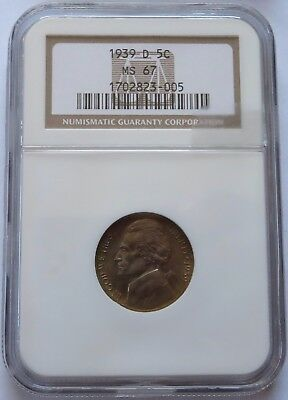 1939-D 5 Cent Jefferson Nickel - NGC MS 67, Vintage Higher Grade 5C coin(201125S