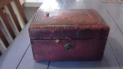 Antique Mid 19Thc Morrocan Leather Deed Box With Bramah London Lock