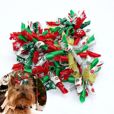 10pcs/lot Cute Pet Puppy Dog Christmas Hair Bows Accessories Grooming Xmas Gifts