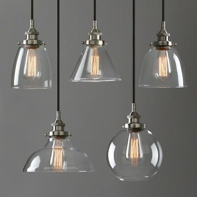 Retro Industrial Silver Brushed Fitting Clear Glass Lamp Ceiling Pendant Light