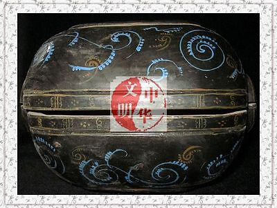 WarringStatesPeriod ToiletriesBox WOOD LACQUER BLUE FLOWER PATTERN DressingCase奁