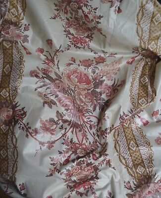 Vintage French pure cotton chintz curtains, pink bouquets, baskets, ropes, 151""