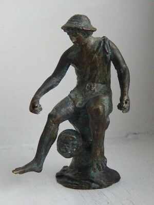 Fine antique bronze figure of a seated classical male figure- perhaps signed