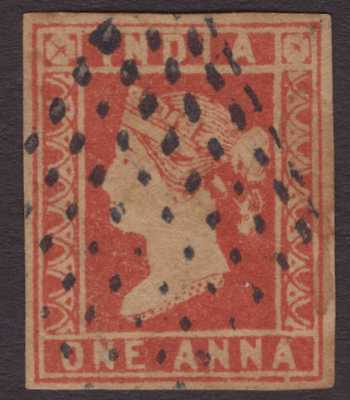 India Litho QV 1854 SG14 1a Dull Red Die II Used CV£85