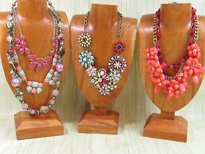Sparkle Costume Jewelry Lot Colorful Statement Necklaces Blue Pink