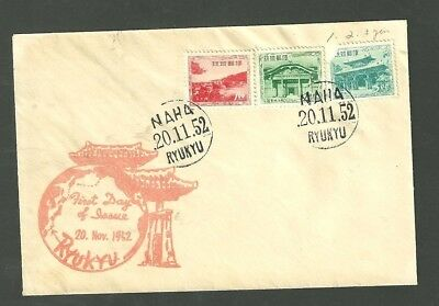 1952 Ryukyu Island Naha First Day Cover With 3 Stamps
