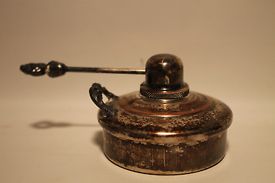 Vintage Chaffin Dish Oil Burner Warmer With Snuffer. Silver Plate Over Copper,
