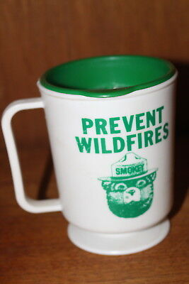 Smokey The Bear Plastic Travel Mug Cup Prevent Forest Fires Snap on Lid