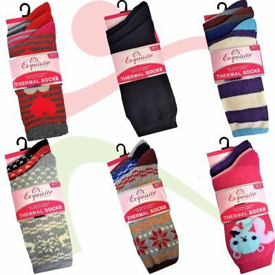 12 Pairs Ladies Multi Designs Novelty Cosy THERMAL SOCKS Women's Warm Winter SKI