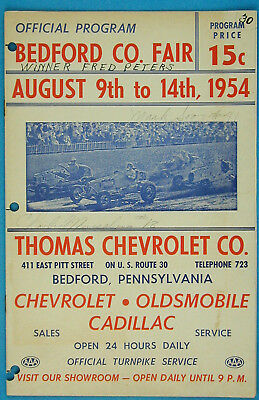 Vintage 1954 Bedford Speedway AAA Sprint Car Race / Racing Program PA Signed