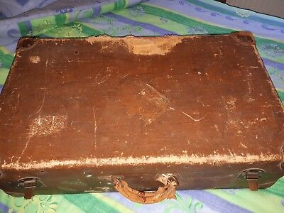 Vintage Brown Leather Suitcase - shabby chic (decorative rather than usable)