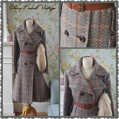 Vintage 70s Military Tailored Wool Plaid Check Swing Fit Flare Dress Coat 16-18