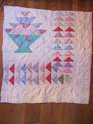 """CUTTER Paisley BASKET QUILT Piece w/Flying Geese 27""""x 24"""" CHRISTMAS CRAFTS"""