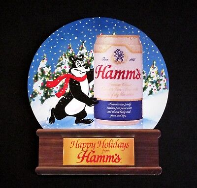 Hamm's Beer - Hamm's Bear in Christmas Snow Globe Table Sign + POS Sticker
