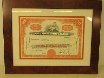 * Vintage 1968 Lionel Corporation Stock Certificate 100 Shares Framed