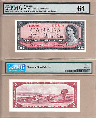 1954 $2 Bank of Canada QE2 Low Mintage S/R Test Note in PMG Choice UNC64