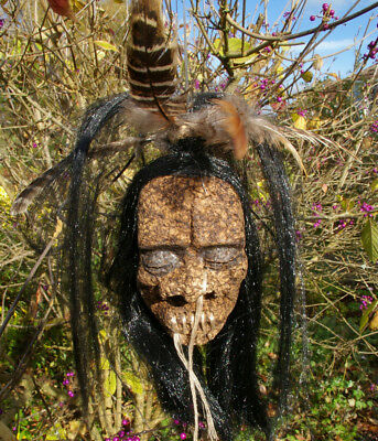 LARGE LONG HAIR + FEATHERS  SHRUNKEN HEAD CAR MIRROR DANGLE GOTH 50s ECO TOY