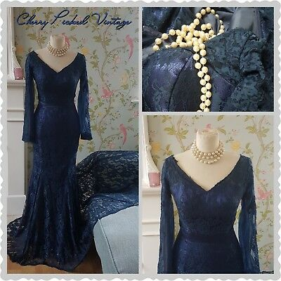French Navy Lace Hour Glass Fishtail Gown Evening Cocktail Ball Prom Dress UK10