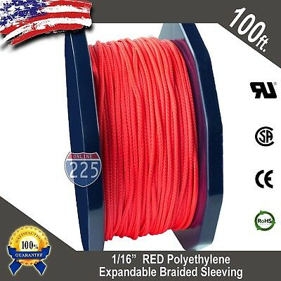 """100 FT. 1/16"""" Red Expandable Wire Cable Sleeving Sheathing Braided Loom Tubing"""