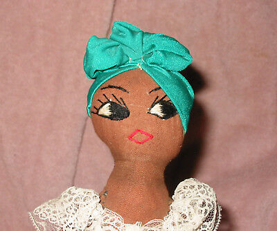Vintage Souvenir Black African American Jamaican Cloth Doll w Embroidered Face