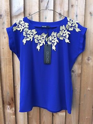 Anthropologie Beloved Blue/Gold 3D Embroidered Top Size: M *¨¨*New*¨¨*