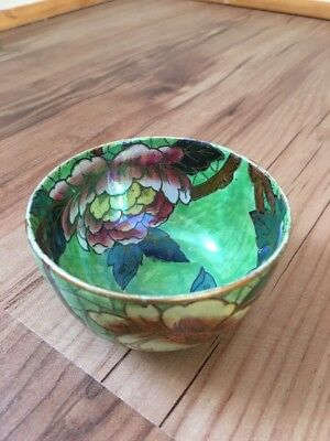 maling Small Hand Painted Green And Peony Bowl-5855r.