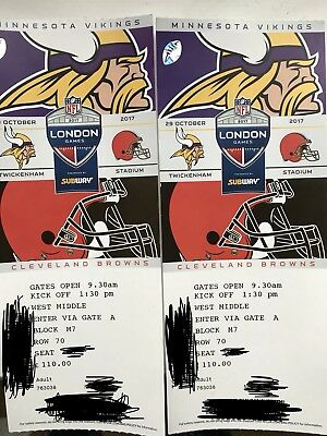 NFL American Football Tickets x 2 Cleveland Browns V Minnesota Vikings Oct 29th