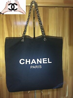 Authentic CHANEL VIP Gift Black Mesh Canvas Tote Bag with Silver&Gold Hardware