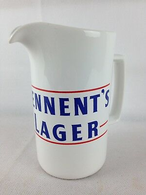 Rare White 70s Tennents Lager Pub Water Jug Early Wade PDM Stamp England