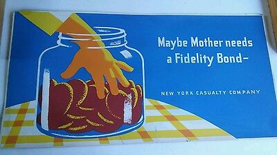 1930's NEW YORK CASUALTY COMPANY Insurance ADVERTISING Sign Window DISPLAY