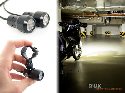 Small motorcycle LED driving lights 2x6W, front fog, passing, high beam variants