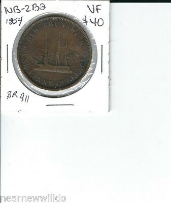1854 New Brunswick One Penny Currency Token Coin Canada