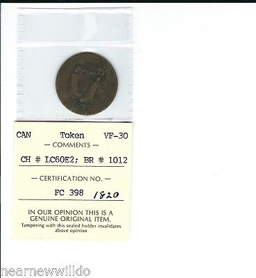 1820 Br1012 Lower Canada Half Penny Token Bust And Harp Coin