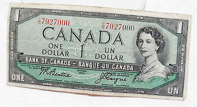 Canadian Canada $1 Paper Money Bill Ottawa 1954 Bank of Canada Circulated