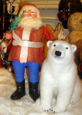Santa Candy Container w/ Polar Bear, Belsnickle 1920's German Christmas Nicholas