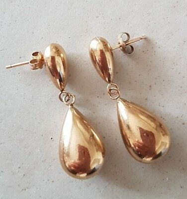9ct yellow gold beautiful rare double drop earrings.  Hallmarked.