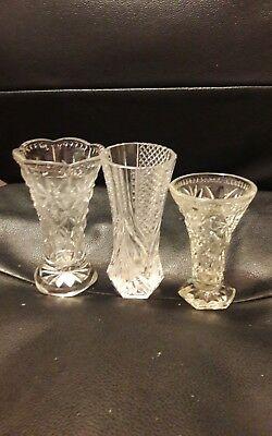 3 vintage glass posy vases, wedding, tea rooms, job lot