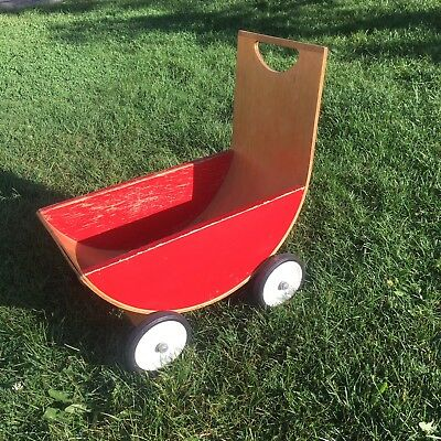 Vtg Creative Playthings Wood Bentwood Baby Doll Toy Stroller Mid Century Modern