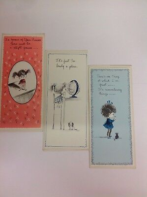 Three Vintage 1970's Fran Mar Moppets Coloured Greeting Cards Unused