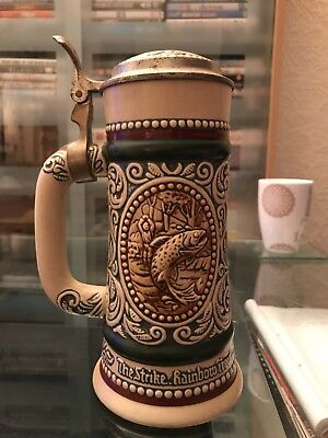 1979 Ceramic Pottery Stein/Tankard with Hinged Metal Lid