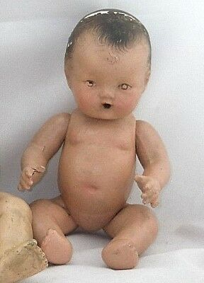 """Vintage 1930's Composition Strung Jointed Baby Doll 10"""" Drink Wet Doll"""