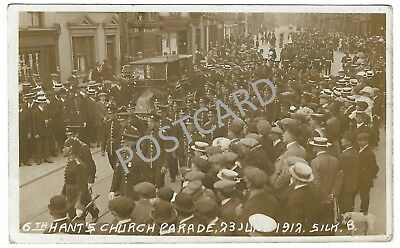 1912 RP PC Army Parade in Portsmouth High Street past buildings now demolished