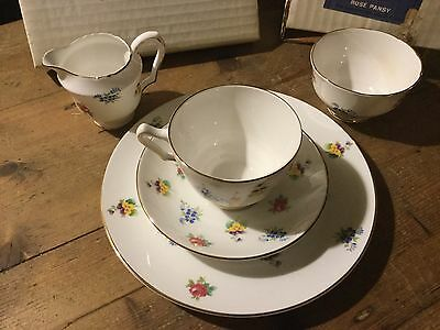 Crown Staffordshire Rose PANSY FLOWER Gold Trim Footed Cup Set with Sugar Cream
