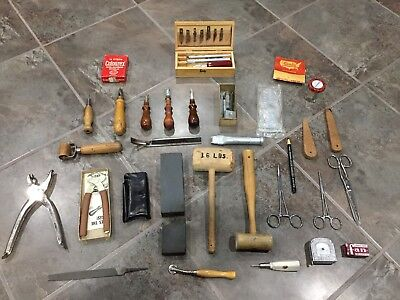 Vintage leather Working Tools , Hammer Sewing Stitching Carving Knife